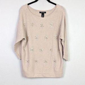 WHBM Cream Embellished 3/4 Sleeve Sweater Size S